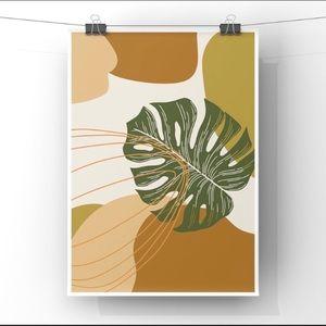 Boho minimalist modern natural abstract art print
